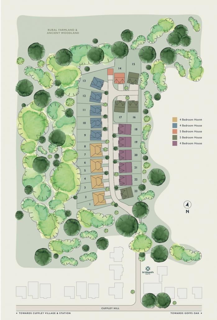 St Edwards Gate, Cuffley - Plots & Site Plan