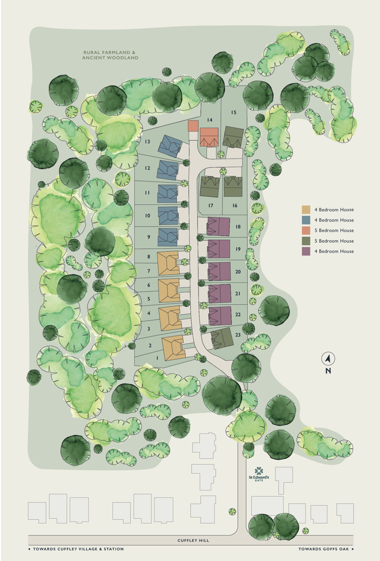 St Edwards Gate, Cuffley - Plots & Site Plan
