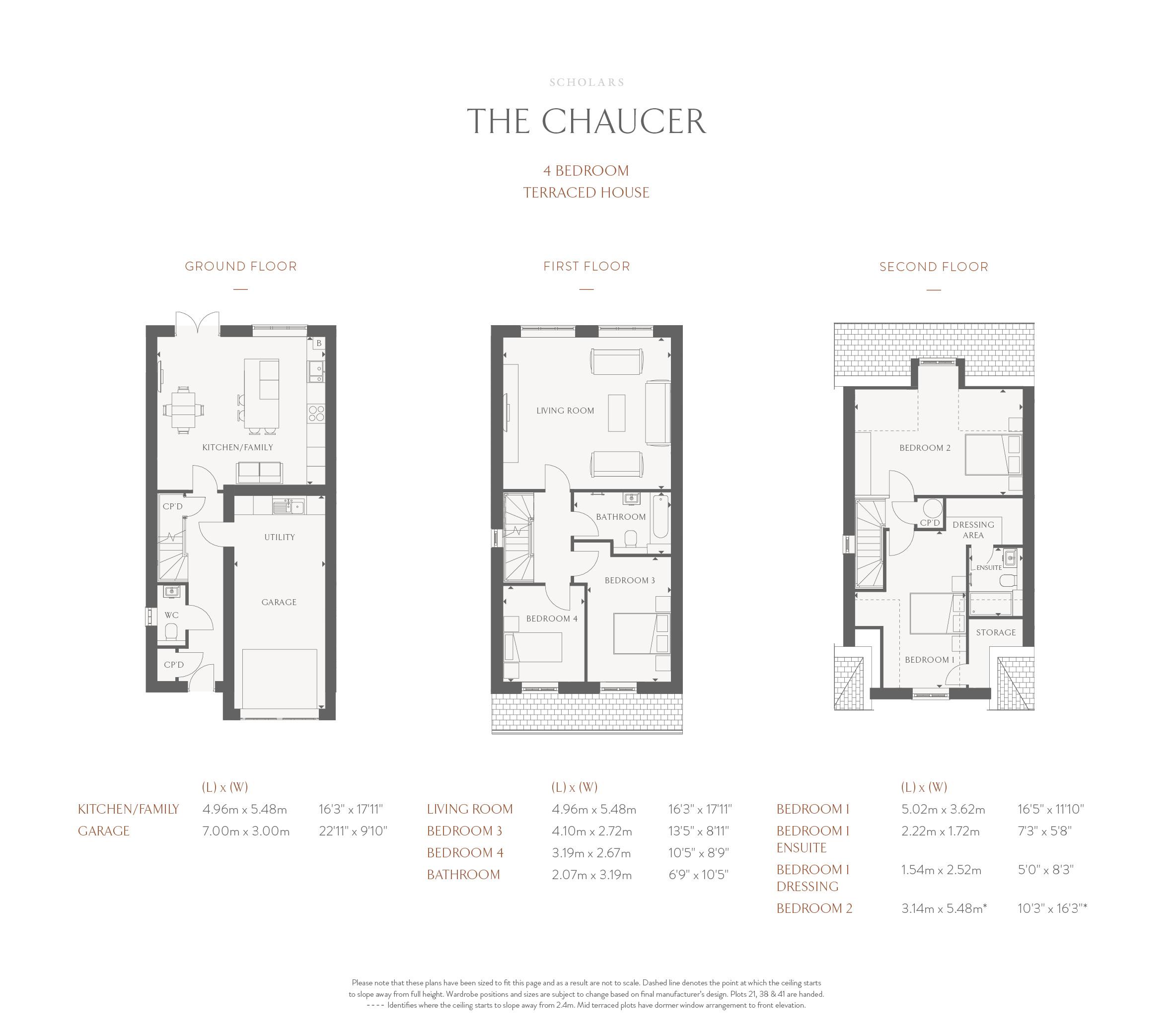 4 Bedroom Terraced House - Chaucer Floor Plan